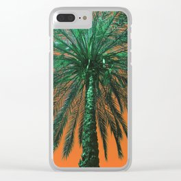 Orange Palm Love Clear iPhone Case