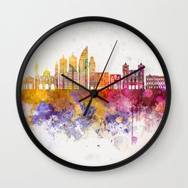 Montevideo skyline in watercolor background Wall Clock