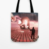 surrealism Tote Bags featuring surrealism  by mark ashkenazi