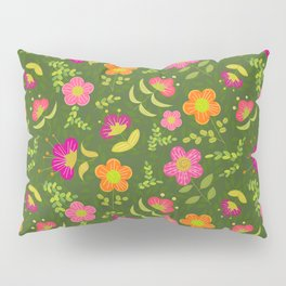 Bright Rounded Flowers on Bed of Dark Olive Leaves (pattern) Pillow Sham
