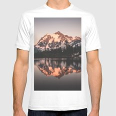 Alpenglow - Mountain Reflection White Mens Fitted Tee MEDIUM