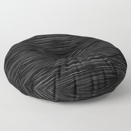 Meteor Stripes - Deep Black Floor Pillow