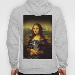 Mona lisa fat crazy cat photo kitty fatso famous painting Hoody