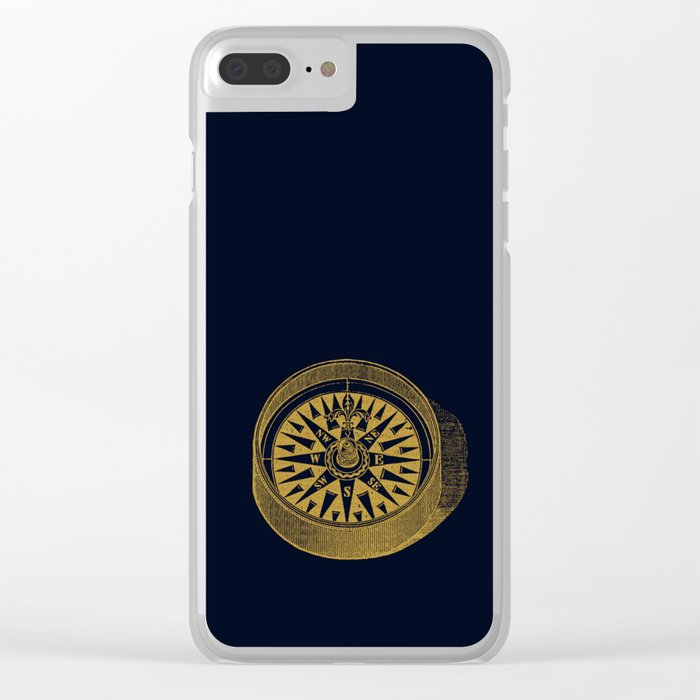 The golden compass I- maritime print with gold ornament Clear iPhone Case