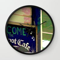 cafe Wall Clocks featuring Cafe by Glenn Designs