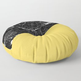 Black Marble and Primrose Yellow Color Floor Pillow