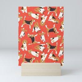 beagle scatter coral red Mini Art Print