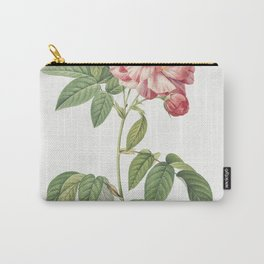 Rosa Mundi French Rosebush with Varigated Flowers (Rosa gallica versicolor) from Les Roses (1817-182 Carry-All Pouch