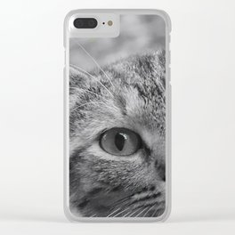 Black and White Cat Face Clear iPhone Case