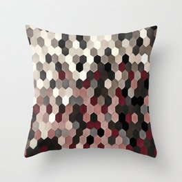 Hexagon Pattern In Gray and Burgundy Autumn Colors Throw Pillow