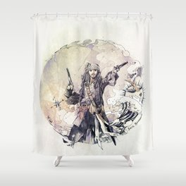 Jack Sparrow with double pistols Shower Curtain