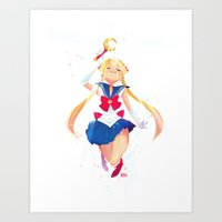 sailor moon Art Prints featuring Sailor Moon by Ellen Su