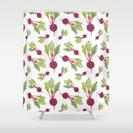Feel the Beet in Radish White Shower Curtain