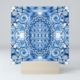 Blue Zentangle Tile Doodle Design Mini Art Print