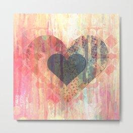 Vintage overlay heart Abstract Metal Print