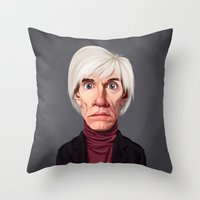 celebrity Throw Pillows featuring Celebrity Sunday ~ Andy Warhola by rob art | illustration