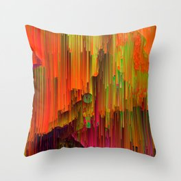 Radioactive - Abstract Glitched Pixel Art Throw Pillow