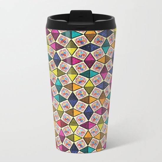 Colorful Kaleidoscopic Abstract Flower Pattern Metal Travel Mug