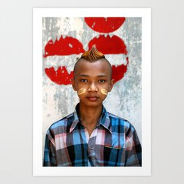 Young Burmese guy wearing Thanaka Art Print