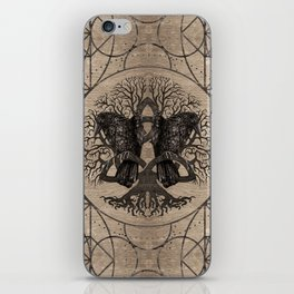 Tree of life - with ravens wooden texture iPhone Skin