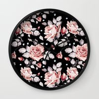 shabby chic Wall Clocks featuring Shabby Chic Rose by Madisyn Nicole