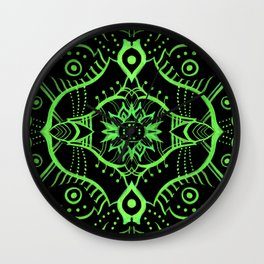 Oriental Lotus Mandala Pattern, Black & Green Wall Clock
