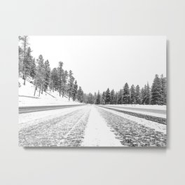 Snow Road // Snowy Winter Wonderland Black and White Landscape Photography Ski Poster Metal Print