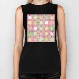 Squares and Circles / Pink / Abstract Geometric Pattern Biker Tank
