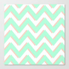 3D CHEVRON MINT/PEACH Canvas Print