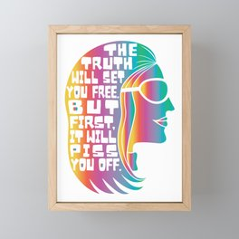 Gloria Steinem Feminist Icon Truth Quote Rainbow Colors Framed Mini Art Print