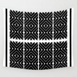 MONOCHROMA Geometrica : Black & White Box Pattern Wall Tapestry