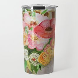 Flowers on a Chippy Chair Travel Mug