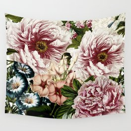 Vintage Peony and Ipomea Pattern - Smelling Dreams Wall Tapestry