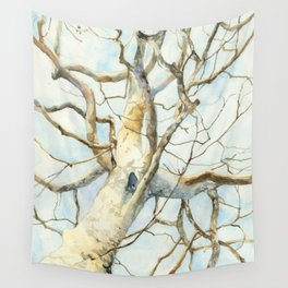 Sycamore Tree, Watercolor Art, Platanus occidentalis Wall Tapestry