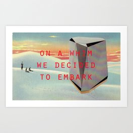 On a whim we decided to embark (Coburg Faceted Table and Sunset) Art Print