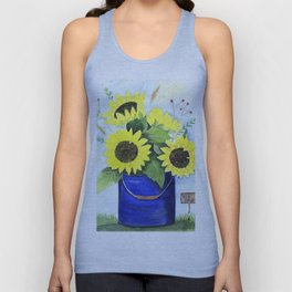 Watercolor sunflower bouquet in bucket Unisex Tank Top