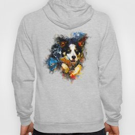border collie jumping in water splatter watercolor Hoody