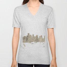 Boston Massachusetts Skyline Sheet Music Cityscape Unisex V-Neck