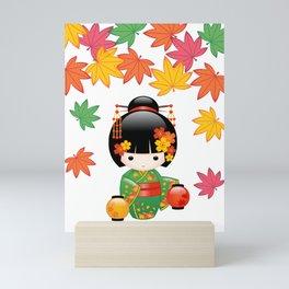 Japanese Fall Kokeshi Doll Mini Art Print