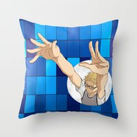 haikyuu Throw Pillows featuring Tsukishima Kei - Haikyuu!! - block by anywayimnikki