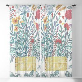 Spring Wildflowers Bouquet Sheer Curtain