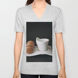 Set of cup of coffee and macaroons against black background Unisex V-Neck