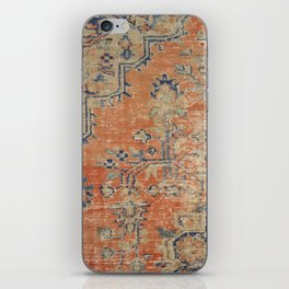 Vintage Woven Navy and Orange iPhone Skin