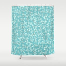Bikes in a blue background Shower Curtain