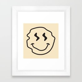 Wonky Smiley Face - Black and Cream Framed Art Print