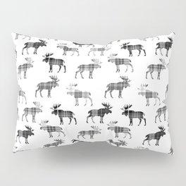 Moose Trot // Black & White Plaid Pillow Sham