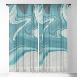 White & Teal Abstract Art Painting Sheer Curtain