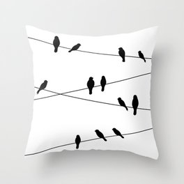 Birds on a line in Black Throw Pillow