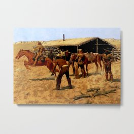 "Frederic Remington Western Art ""Pony Express"" Metal Print"