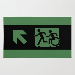 Wheelchair Disabled Exit Sign, with Accessible Means of Egress Icon Rug